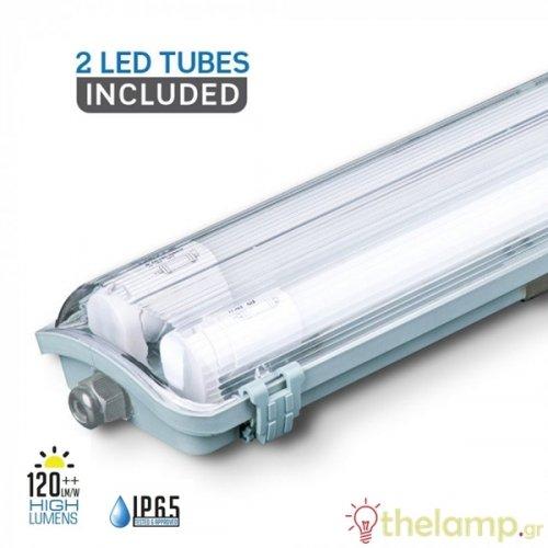 Φωτιστικό led σκαφάκι αδιάβροχο 2x22W 240V 120° day light 6400K 6400 VT-15022 IP65 V-TAC