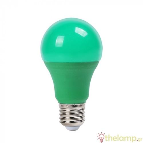 Led κοινή A60 9W E27 220-240V πράσινη 7343 VT-2000 V-TAC