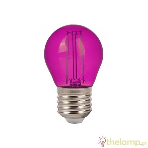 Led γλομπάκι filament G45 2W E27 240V ροζ 7410 VT-2132 V-TAC