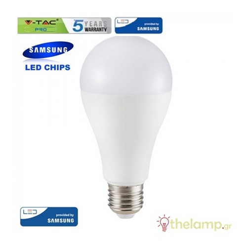 Led κοινή A65 15W E27 220-240V day light 6400K Samsung chip 161 VT-215 V-TAC