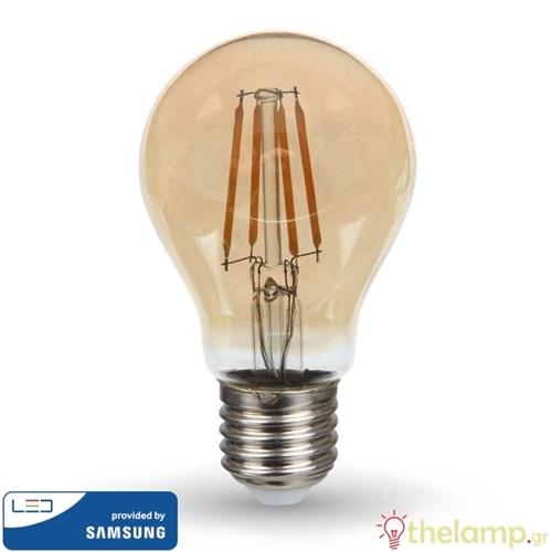 Led κοινή filament A60 4W E27 220-240V warm white 2200K κεχριμπάρι Samsung chip 282 VT-214 V-TAC