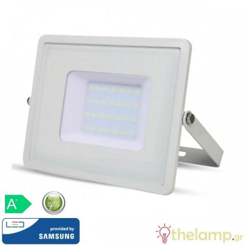 Προβολέας led 30W 230V 100° cool white 4000K λευκός Samsung chip 404 VT-30 V-TAC