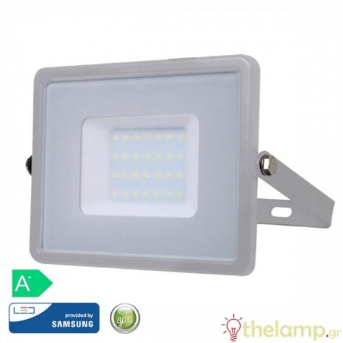 Προβολέας led 30W 230V 100° warm white 3000K γκρι Samsung chip 454 VT-30 V-TAC