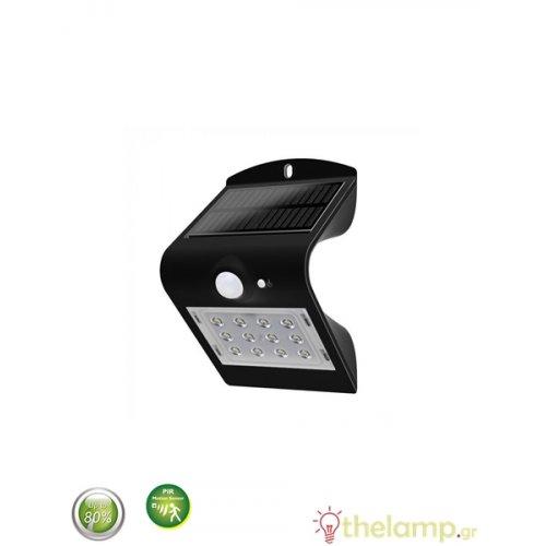 Ηλιακό φωτιστικό Led 1.5W με αισθητήρα κίνησης cool white 4000K μαύρο 8277 VT-767-2 V-TAC