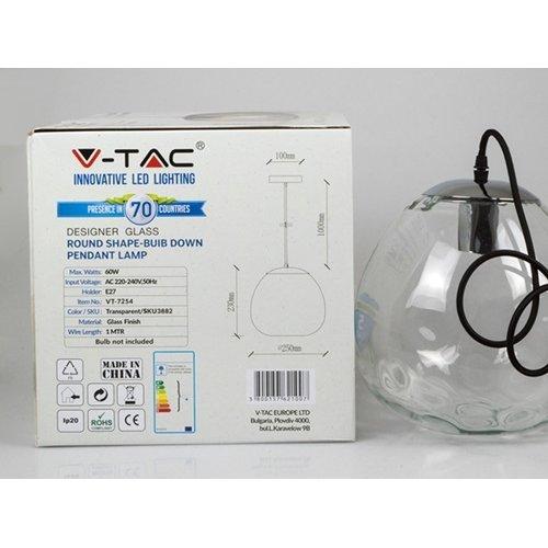 Φωτιστικό κρεμαστό γυάλινο διάφανο χρώμιο 3882 VT-7254 V-TAC