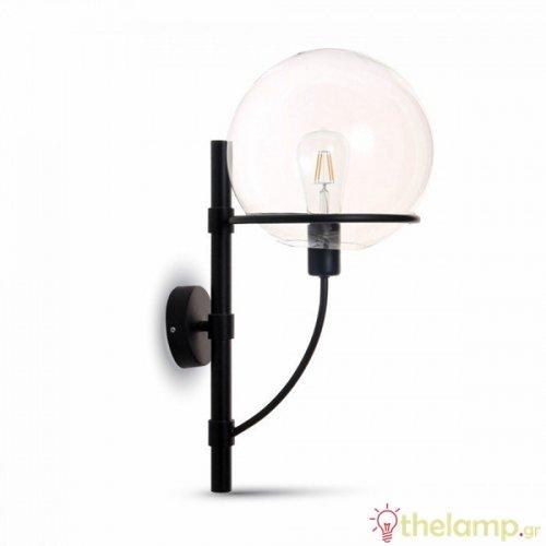 Επιτοίχιο φωτιστικό με διάφανο γυαλί globe shape μαύρο 3864 VT-7226 V-TAC
