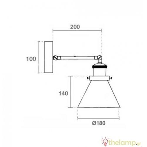 Επιτοίχιο φωτιστικό με διάφανο γυαλί V shape μαύρο 3862 VT-7143 V-TAC