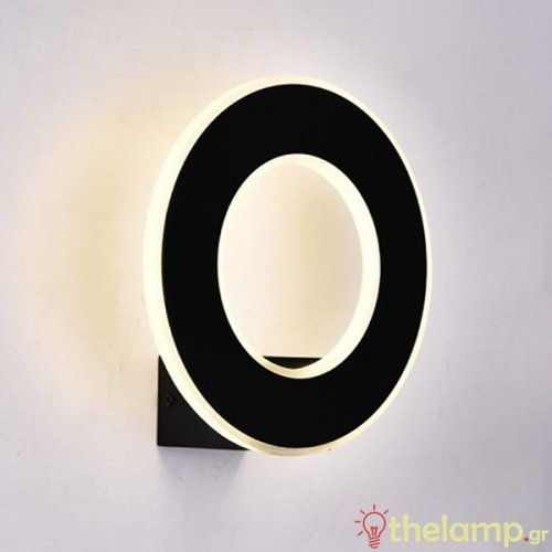Led φωτιστικό τοίχου 9W 240V στρόγγυλο 360° warm white 3000K μαύρο 8227 VT-710 V-TAC