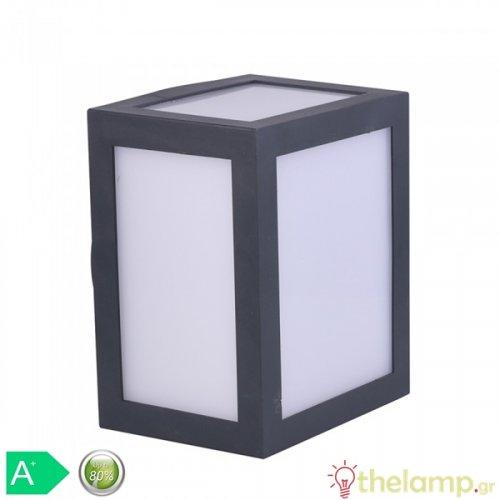 Led φωτιστικό τοίχου 12W 110-240V τετράγωνο 140° warm white 3000K μαύρο 8340 VT-822 V-TAC