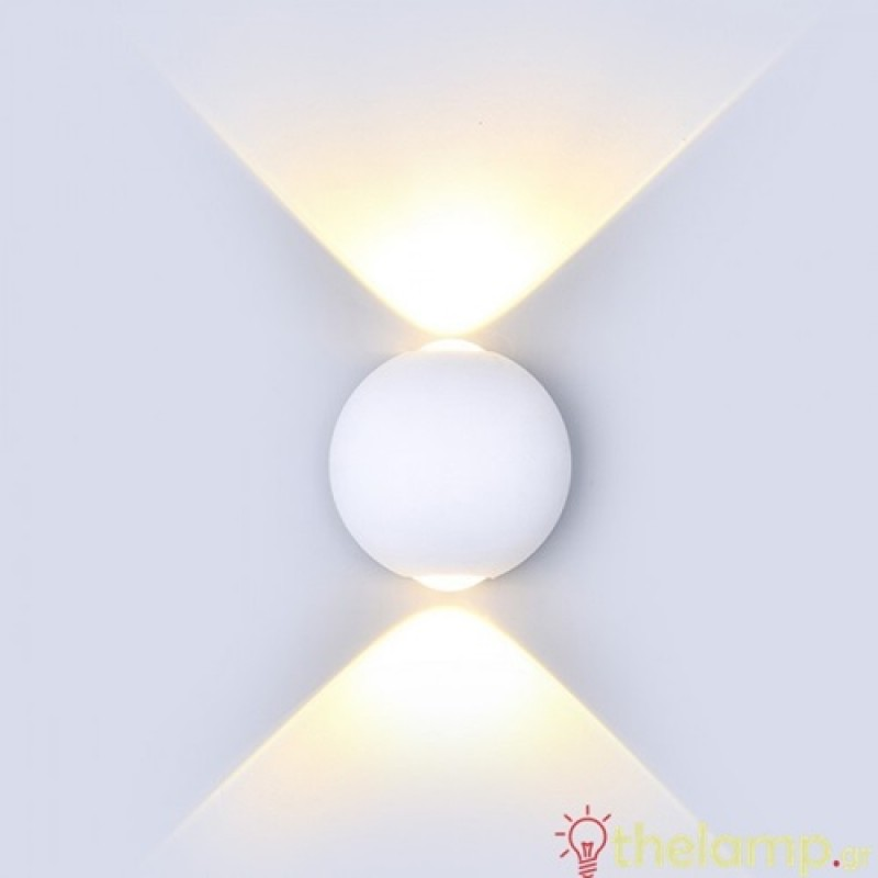 Led φωτιστικό τοίχου 6W 240V στρόγγυλο 90° warm white 3000K λευκό 8301 VT-836 V-TAC