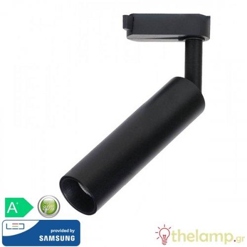 Led φωτιστικό ράγας 7W 240V 24° warm white 3000K μαύρο Samsung chip 353 VT-407-B V-TAC