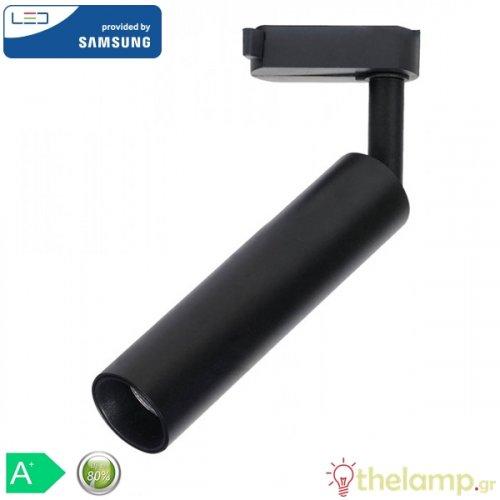 Led φωτιστικό ράγας 15W 240V 24° day light Samsung chip 5000K μαύρο 361 VT-415-B V-TAC