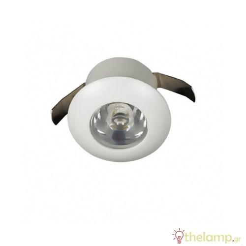Φωτιστικό led χωνευτό 1W 240V warm white 3000K με driver στρόγγυλο λευκό Φ2.4cm 04097/W
