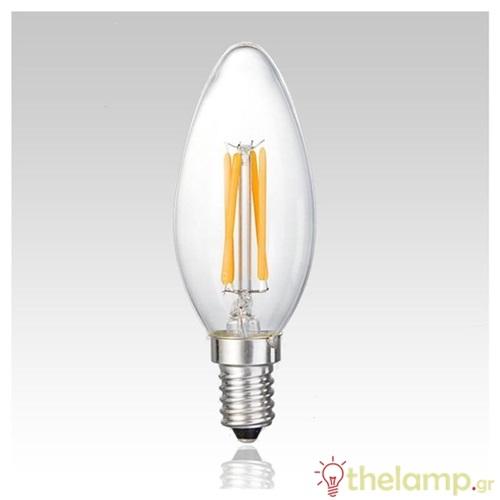 Led κερί filament C35 6W E14 240V διάφανο cool white 4000K Φos_me