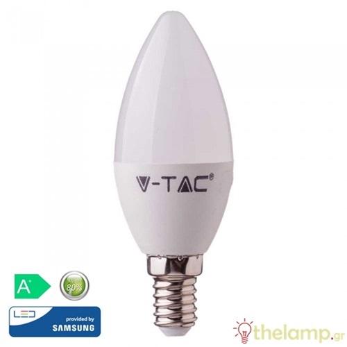 Led κερί 7W E14 220-240V 200° day light 6400K Samsung chip 113 VT-268 V-TAC