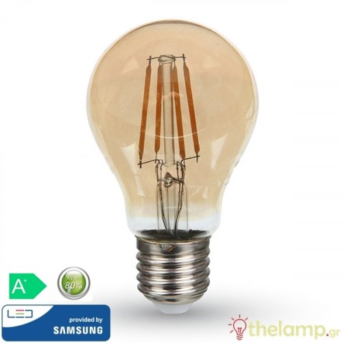 Led κοινή filament A60 6W E27 220-240V warm white 2200K κεχριμπάρι Samsung chip 286 VT-266 V-TAC