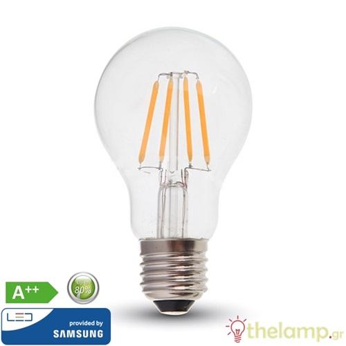 Led κοινή filament A60 6W E27 220-240V warm white 2700K Samsung chip 287 VT-256 V-TAC