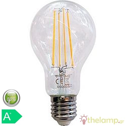 Led κοινή filament A70 12.5W E27 240V διάφανη warm white 3000K 7458 VT-2133 V-TAC