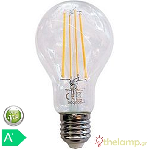 Led κοινή filament A70 12.5W E27 240V διάφανη cool white 4000K 7459 VT-2133 V-TAC