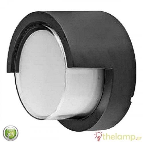 Led φωτιστικό τοίχου αδιάβροχο 12W 240V στρόγγυλο 128° warm white 3000K μαύρο 8537 VT-827 V-TAC