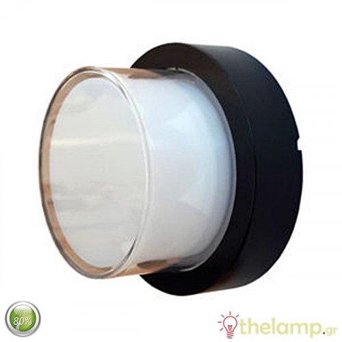 Led φωτιστικό τοίχου αδιάβροχο 12W 240V στρόγγυλο 158° warm white 3000K μαύρο 8541 VT-828 V-TAC