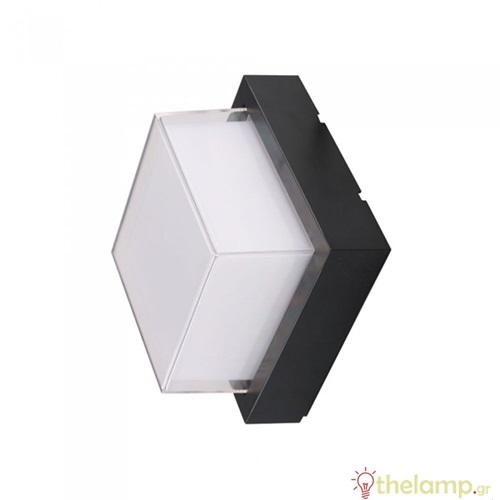 Led φωτιστικό τοίχου αδιάβροχο 12W 240V τετράγωνο 128° warm white 3000K μαύρο 8543 VT-827 V-TAC