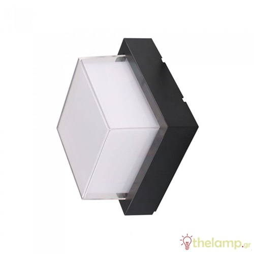 Led φωτιστικό τοίχου αδιάβροχο 12W 240V τετράγωνο 128° cool white 4000K μαύρο 8544 VT-827 V-TAC