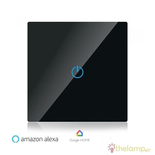 Διακόπτης αφής WiFi μονός συμβατός με Amazon Alexa & Google Home μαύρος 8423 VT-5003-B V-TAC