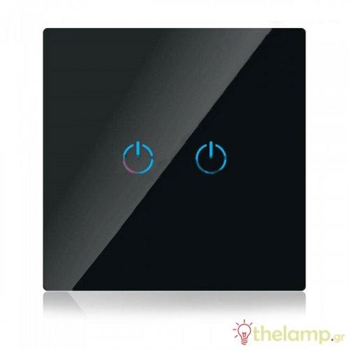 Διακόπτης αφής WiFi διπλός συμβατός με Amazon Alexa & Google Home μαύρος 8424 VT-5004-B V-TAC