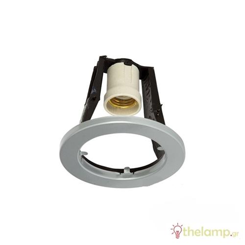 Φωτιστικό οροφής χωνευτό στρόγγυλο για σποτ R80 E27 240V γκρι 95/G