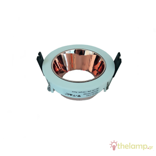 Φωτιστικό οροφής χωνευτό στρόγγυλο για σποτ GU10 λευκό-ροζ χαλκός 3155 VT-872 V-TAC