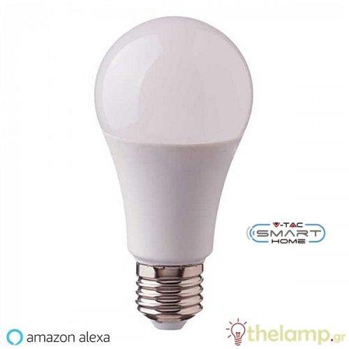 Led κοινή WiFi A60 9W E27 85-265V warm white 3000K + RGB dimmable 7450 VT-5010 V-TAC