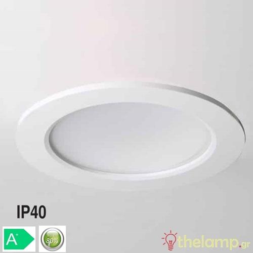 Φωτιστικό led panel χωνευτό 6W 85-260V warm white 3000K στρόγγυλο Φ12cm Φos_me