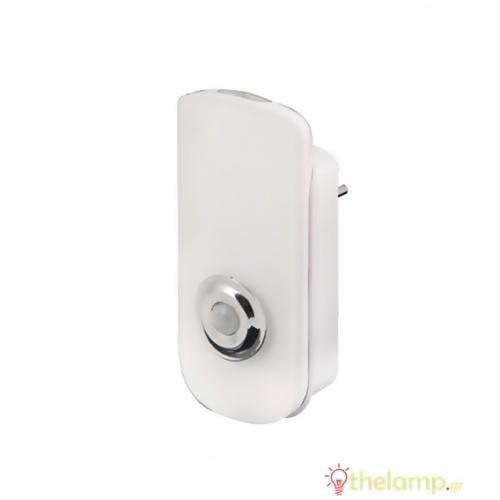 Φωτιστικό νυχτός ασφαλείας Led 1.6W 230V με ανιχνευτή κίνησης R700Η λευκό Velamp