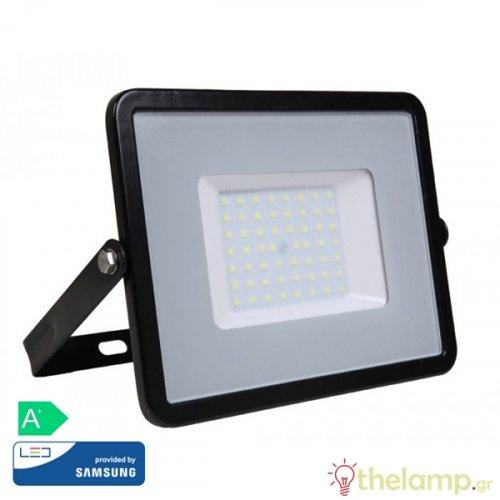 Προβολέας led 50W 230V 100° day light 6400K μαύρος Samsung chip 408 VT-50 V-TAC