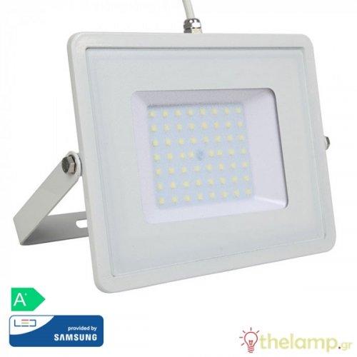 Προβολέας led 50W 230V 100° warm white 3000K λευκός Samsung chip 409 VT-50 V-TAC