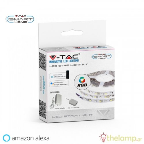 Led ταινία σετ WiFi 12V 10W 60led συμβατή με Amazon Alexa & Google Assistant 6000K+RGB 2584 VT-5050 IP20 V-TAC