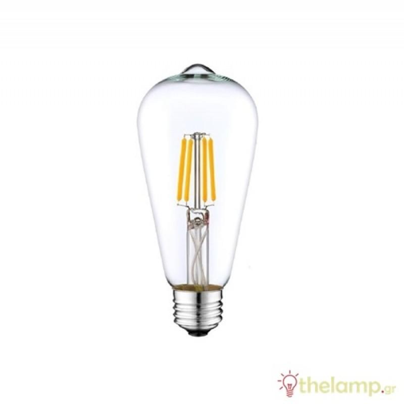 Led filament ST64 9W E27 240V διάφανη warm white 2800K dimmable Φos_me