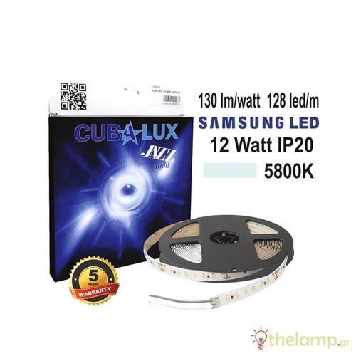 Led ταινία 24V 12W 128led day light 5800K με αυτοκόλλητο Samsung Led Jazz IP20 Cuba Lux