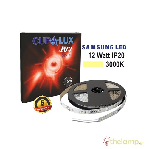 Led ταινία 24V 12W 60led day light 5800K με αυτοκόλλητο Samsung Led Jazz IP20 Cuba Lux