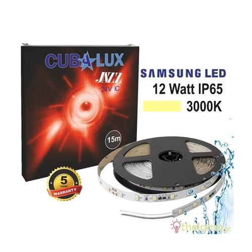 Led ταινία 24V 12W 60led warm white 3000K με αυτοκόλλητο Samsung Led Jazz IP65 Cuba Lux