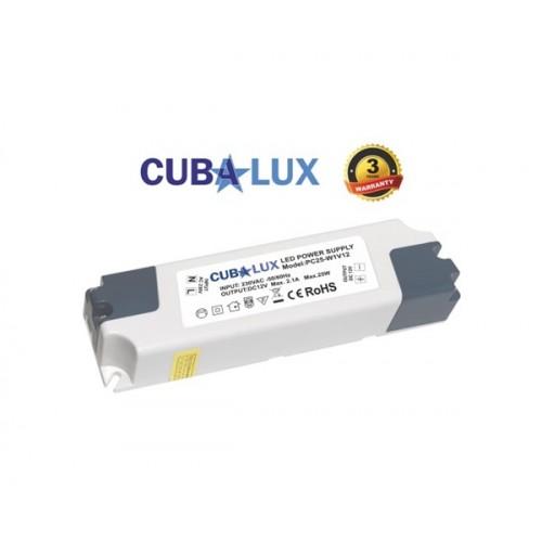 Τροφοδοτικό 230V->12V DC 2.1A 25W για Led ταινία IP20 Cuba Lux