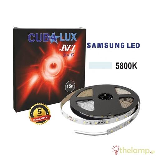 Led ταινία 24V 6W 30led day light 5800K με αυτοκόλλητο Samsung Led roll 15m Jazz IP20 Cuba Lux