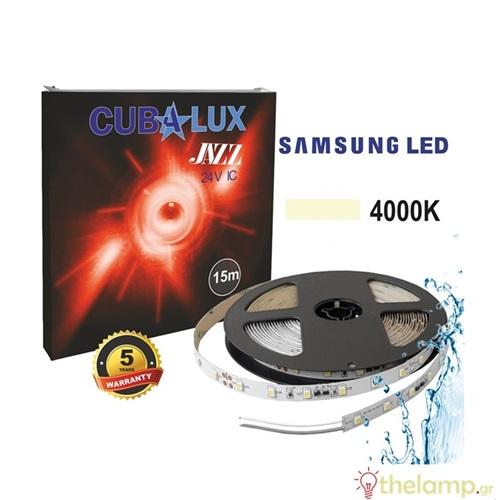 Led ταινία 24V 6W 30led cool white 4000K με αυτοκόλλητο Samsung Led roll 15m Jazz IP65 Cuba Lux