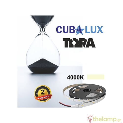 Led ταινία 24V 6W 30led cool white 4000K με αυτοκόλλητο TΩRA IP20 Cuba Lux