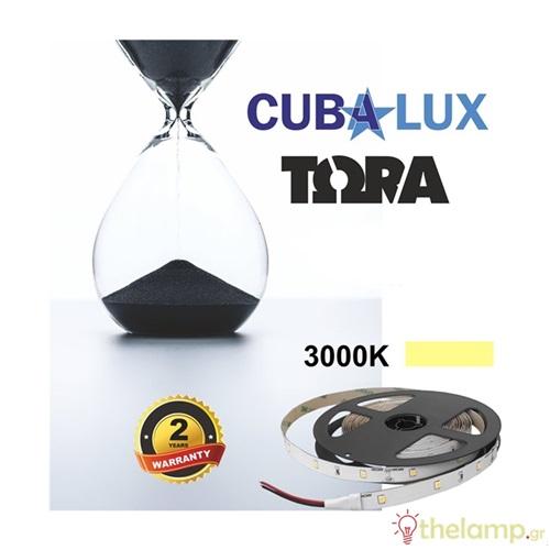 Led ταινία 24V 6W 30led warm white 3000K με αυτοκόλλητο TΩRA IP20 Cuba Lux