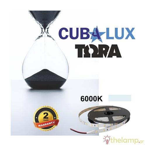 Led ταινία 24V 12W 60led day light 6000K με αυτοκόλλητο TΩRA IP20 Cuba Lux
