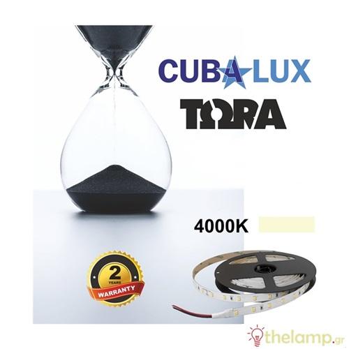 Led ταινία 24V 12W 60led cool white 4000K με αυτοκόλλητο TΩRA IP20 Cuba Lux