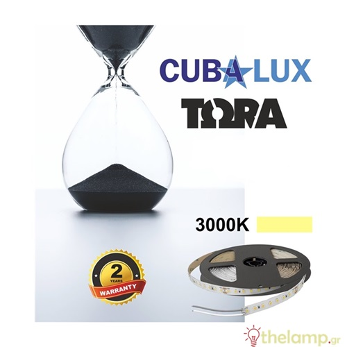 Led ταινία 24V 18W 96led warm white 3000K με αυτοκόλλητο TΩRA IP20 Cuba Lux
