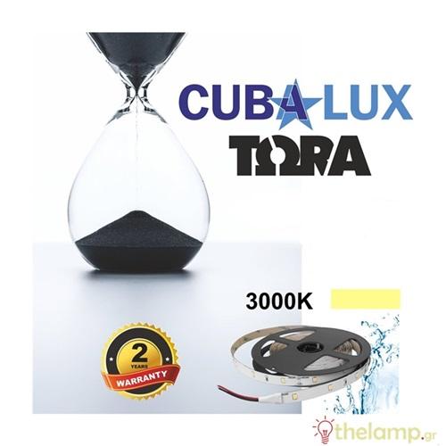 Led ταινία 24V 6W 30led warm white 3000K με αυτοκόλλητο TΩRA IP65 Cuba Lux